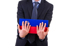 Businessman holding folders. Stock Photos