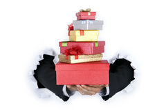 Businessman holding gift Stock Photo