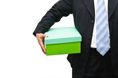Businessman holding a gift box Royalty Free Stock Photo