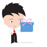 Businessman holding the gift box for happy new year, Christmas and birthday festival, isolated on white background. Businessman holding the gift box for happy Stock Photos