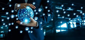 Businessman holding global customer network connection in hand. S. Technology networking structure and data exchanges communication on dark blue background royalty free stock photos