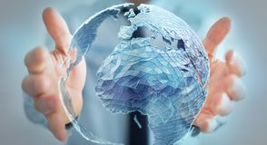 Businessman holding global network on planet earth 3D rendering. Businessman holding global network and data exchanges over the world 3D rendering Royalty Free Stock Photography