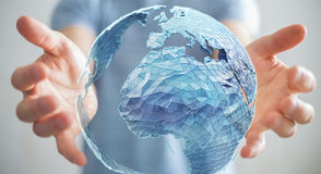 Businessman holding global network on planet earth 3D rendering. Businessman holding global network and data exchanges over the world 3D rendering Royalty Free Stock Images