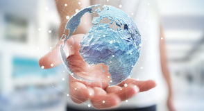 Businessman holding global network on planet earth 3D rendering. Businessman holding global network and data exchanges over the world 3D rendering Stock Image