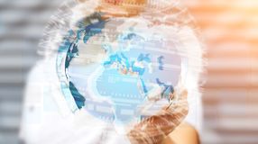 Businessman holding global network on planet earth 3D rendering Stock Photography