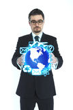 Businessman holding globe Royalty Free Stock Photography