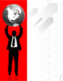 Businessman holding Globe with Binary Code Background Stock Photography