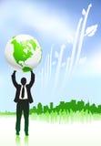 Businessman holding globe nature background Stock Photography