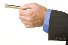 Businessman Holding A Gold Credit Card Royalty Free Stock Photography
