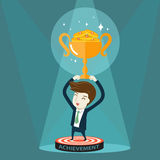 Businessman holding golden trophy Royalty Free Stock Photography