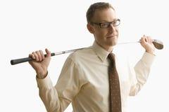 Businessman Holding Golf Club - Isolated