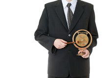Businessman holding gong Royalty Free Stock Photos