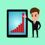 Businessman holding graph to growing up from tablet screen. Royalty Free Stock Photos