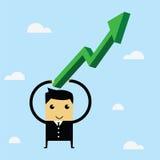 Businessman holding green arrow. Illustration Royalty Free Stock Photography