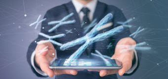Businessman holding a Group of chromosome with DNA inside isolated on a background 3d rendering. View of a Businessman holding a Group of chromosome with DNA stock photos