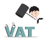 Businessman holding hammer and aiming to smash the wording. VAT , reduce costing concept Royalty Free Stock Image