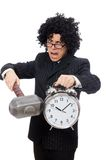 Businessman holding hammer and alarm clock Royalty Free Stock Images