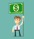 Businessman holding in hand flag with a banknote. Royalty Free Stock Photo