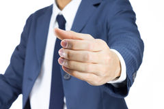 Businessman with Holding Hand Gesture Isolated on White Backgrou Stock Photos