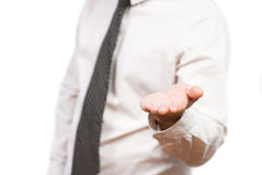 Businessman Holding hand on the whiteboard, Royalty Free Stock Photography