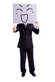 Businessman holding happy expression billboard. And thumb up with isolated white background Stock Photos