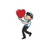 Businessman holding heart vector illustration
