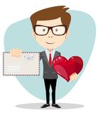 Businessman Holding a Heart and Envelope, Vector Royalty Free Stock Photography