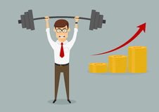 Businessman holding heavy dumbbell above head Royalty Free Stock Photo