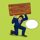 Businessman holding a heavy load pop art vector. Businessman holding a heavy load. Cartoon pop art vector illustration. Human comic book vintage retro style stock illustration