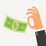 Businessman holding in his hand the hundred dollars. Flat Design. Vector illustration. Isolated on white background Stock Photo