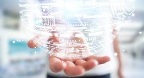 Businessman holding hologram sphere 3D rendering Royalty Free Stock Image