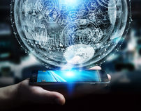 Businessman holding hologram sphere 3D rendering. Businessman holding white and blue hologram sphere over mobile phone 3D rendering Stock Photo