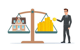 Businessman holding house on money, man collects money royalty free illustration