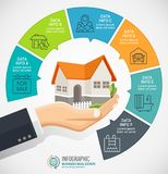 Businessman holding a house. Real Estate business Infographic with icons.