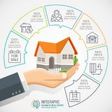 Businessman holding a house. Real Estate business Infographic with icons. Stock Illustration