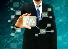 Businessman holding icon of social network in the old paper Text Royalty Free Stock Photos