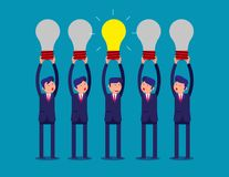 Businessman holding idea light bulbs above his head. Concept bus Royalty Free Stock Image