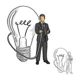 businessman holding idea nozzle from a big bulb vector illustration sketch doodle hand drawn with black lines isolated on white b royalty free illustration