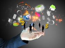 Businessman holding ideas. Businessman hand holding ideas.Conceptual Stock Photography
