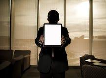 Businessman holding ipad tablet 2 royalty free stock photos