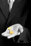 Businessman holding the key. Businessman holding the gold key. B/W royalty free stock photo