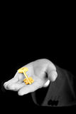 Businessman holding the key. Businessman holding the gold key. B/W stock photography