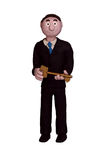 Businessman Holding Key. A clay model of a businessman holding a key Royalty Free Stock Image