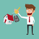 Businessman holding the key ring. Real estate concept. Cartoon Vector Illustration Stock Photo