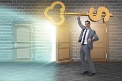 The businessman holding key to financial success and prosperity. Businessman holding key to financial success and prosperity Stock Photos
