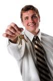 Businessman Holding Keys Stock Photography