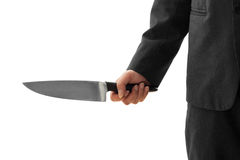 Businessman Holding Knife ready to attack conceptual image Isolated Stock Photography