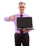 Businessman holding lap top Royalty Free Stock Photo