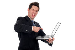 Businessman holding laptop Royalty Free Stock Image