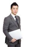 Businessman Holding Laptop Royalty Free Stock Image
